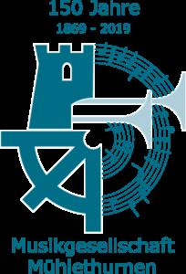 150 Jahre 1869-2019 Musikgesellschaft Mühlethurnen. Logo aus Mühle+Thurm sowie Notenlinien und Trompeten